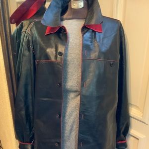 Rosleen black and red Leather coat